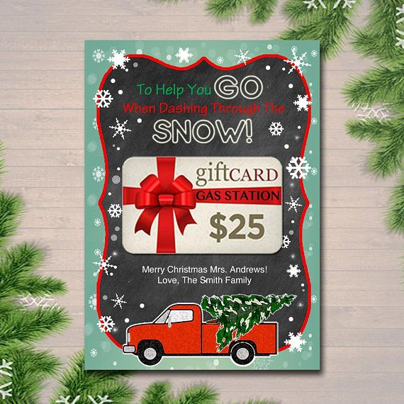 EDITABLE Christmas Gas Card Holder, Thank You Snow Much