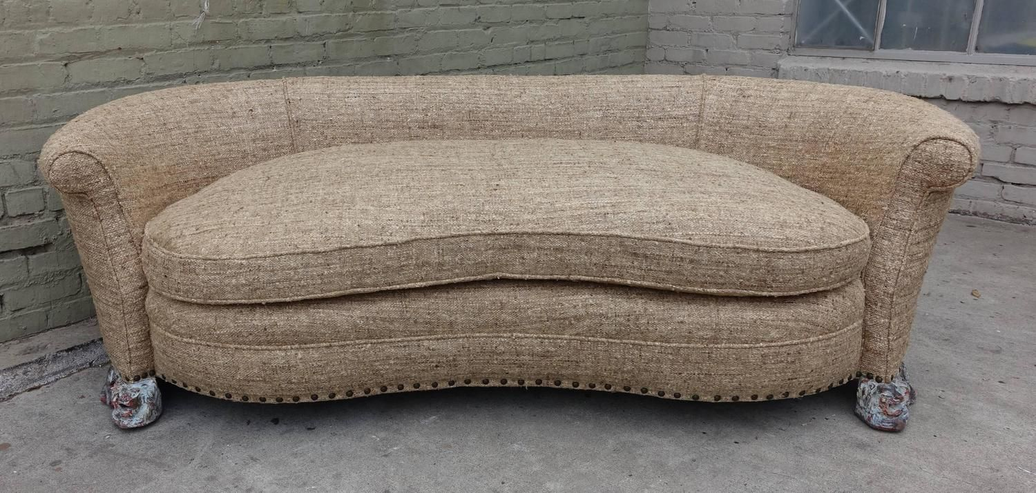 Italian Kidney Shaped Sofa With Carved Lion Feet From A Unique