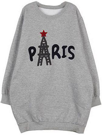 Grey Long Sleeve PARIS Print Loose Sweatshirt US$22.79