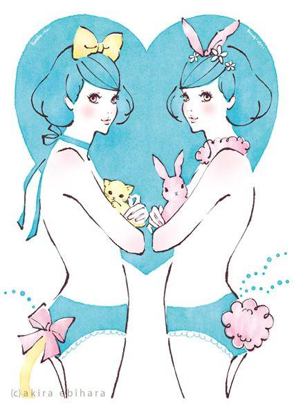 Kitty-eared girls by Akira Ebihara