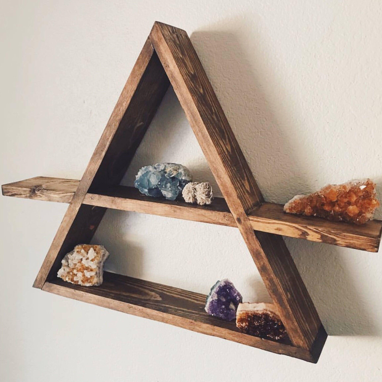 Triangle wood shelf geometric wood wall shelf rustic wall decor rustic wedding decor