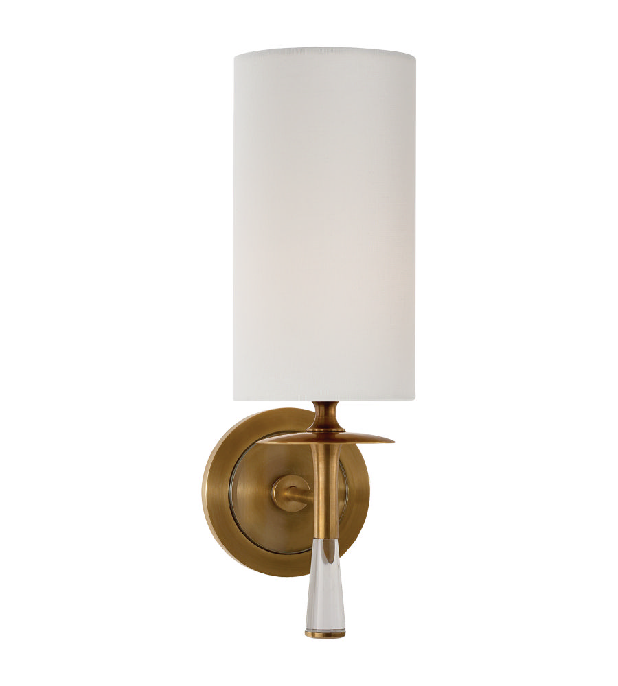 Visual comfort arn2018habcg l aerin drunmore single sconce in visual comfort aerin drunmore single sconce in hand rubbed antique brass and crystal with linen shade amipublicfo Image collections