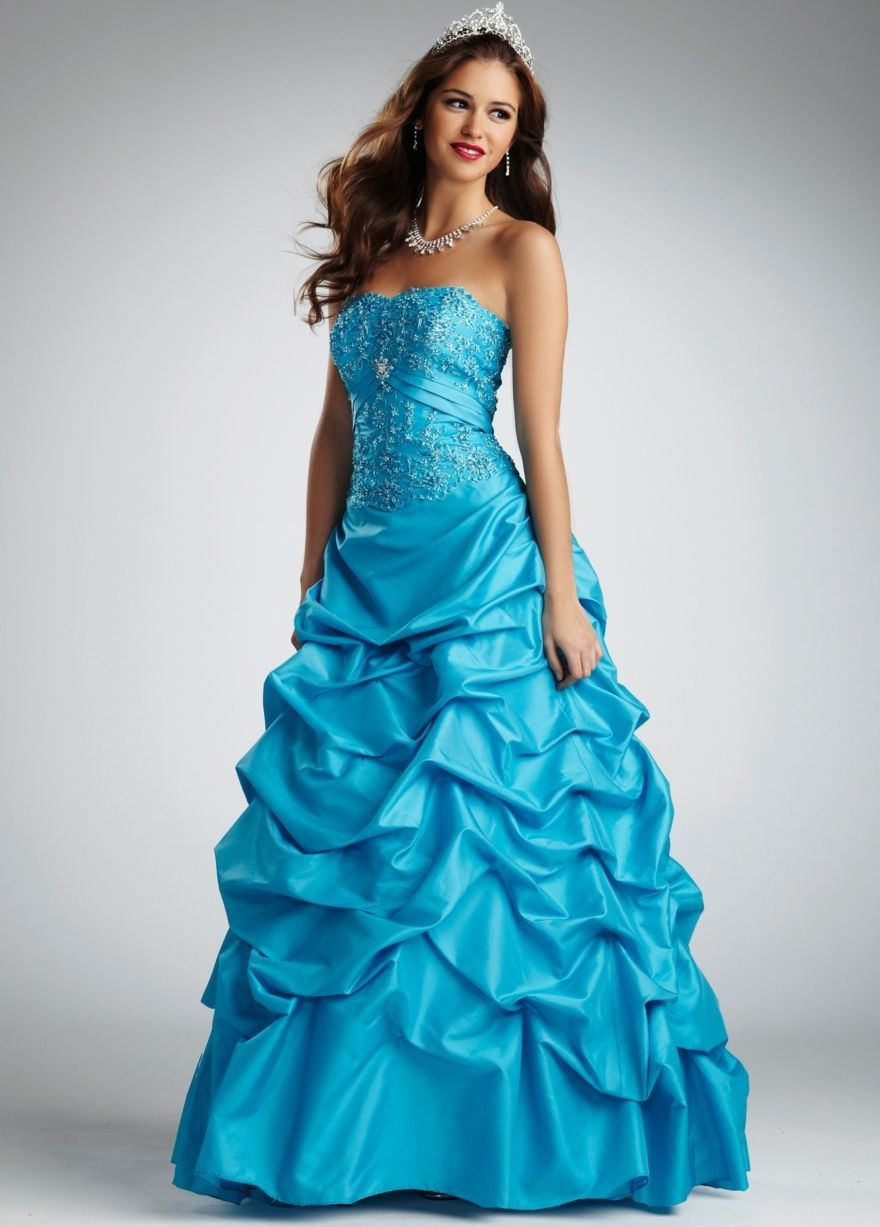Strapless Taffeta Ball Gown with Beaded Bodice Style NTT9325 ...