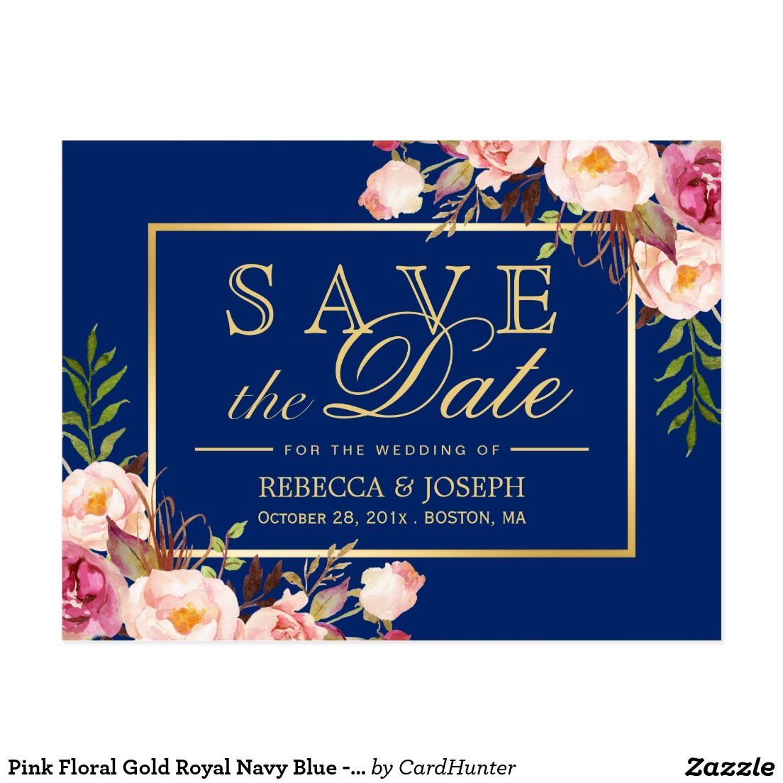 Pink Fl Gold Royal Navy Blue Save The Date