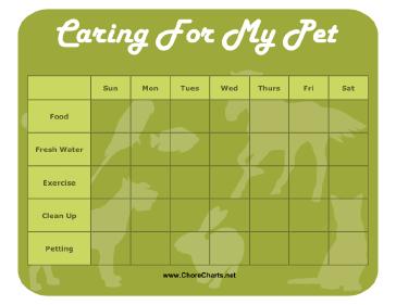 3 Animals Journey Idea Editable Chore Charts Printable Pet Care