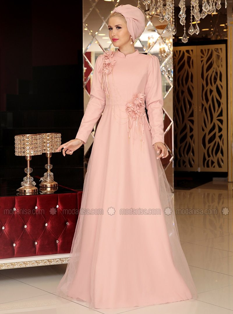 Powder fully lined crew neck muslim evening dress abaya in