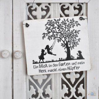 Shabbyflair Schild Ein Blick In Den Garten Und Mein Herz Macht Einen Hupfer In Geschenkartikel Blechfiguren Holzschild Im Garten Gartenofen Gartenschilder