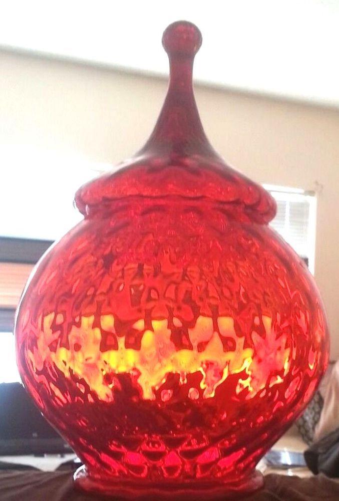 Vintage Ruby Red Gl Jar Pumpkin Mold Cookie Flour Etc Murano