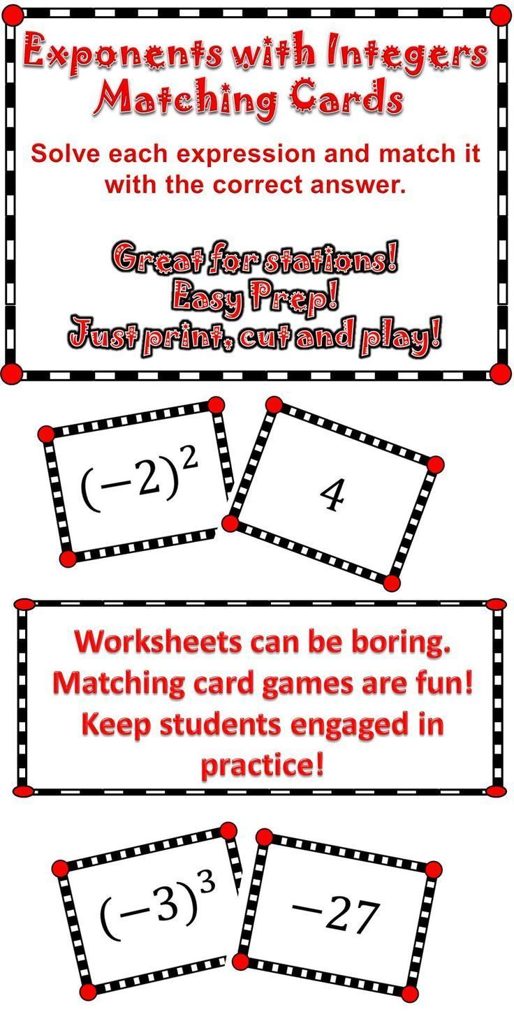 Exponents with Integers Integers, School fun, Math lessons