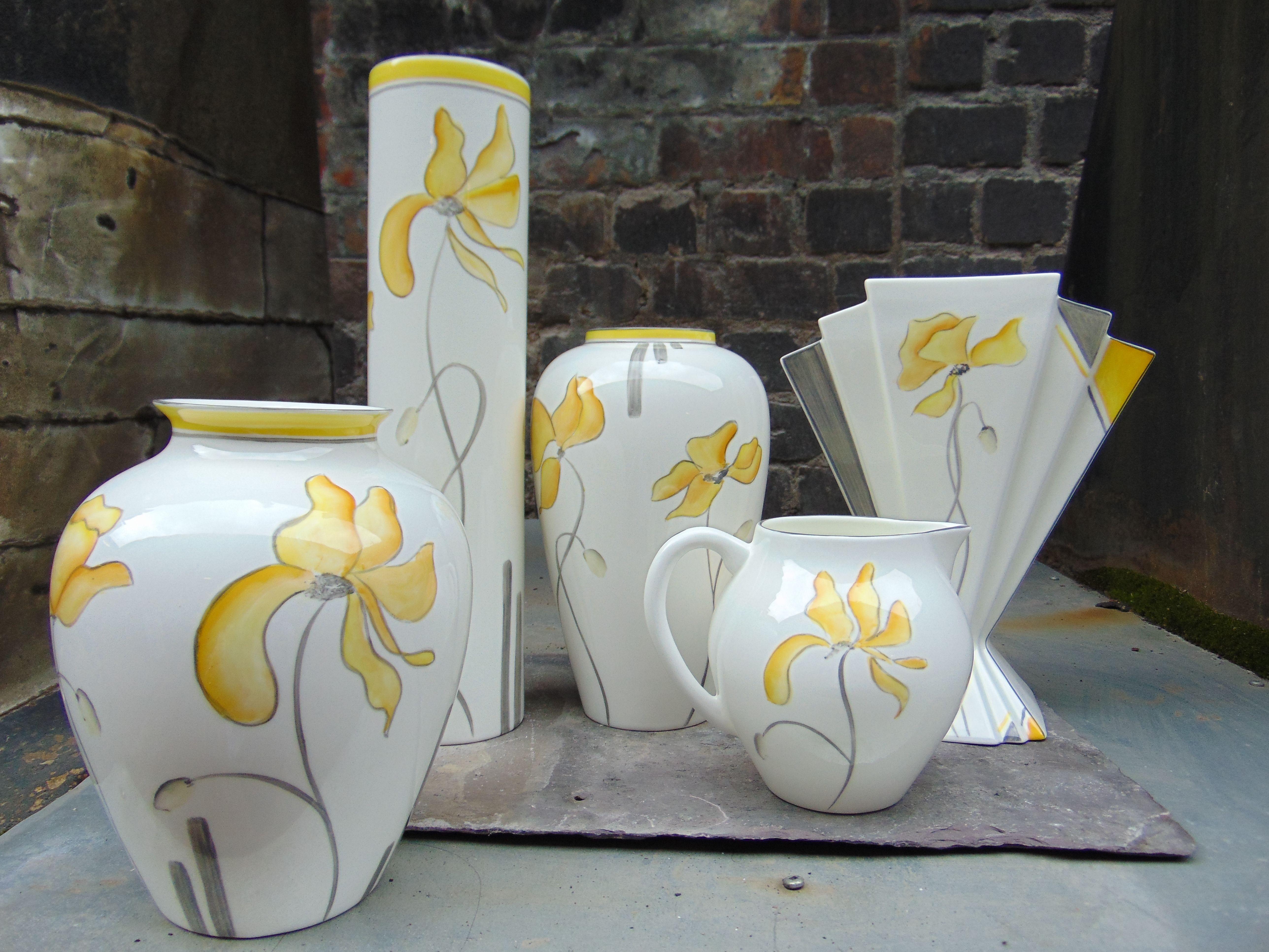 The Yellow Poppy 2019. Hand Painted Unique Vases . #vases