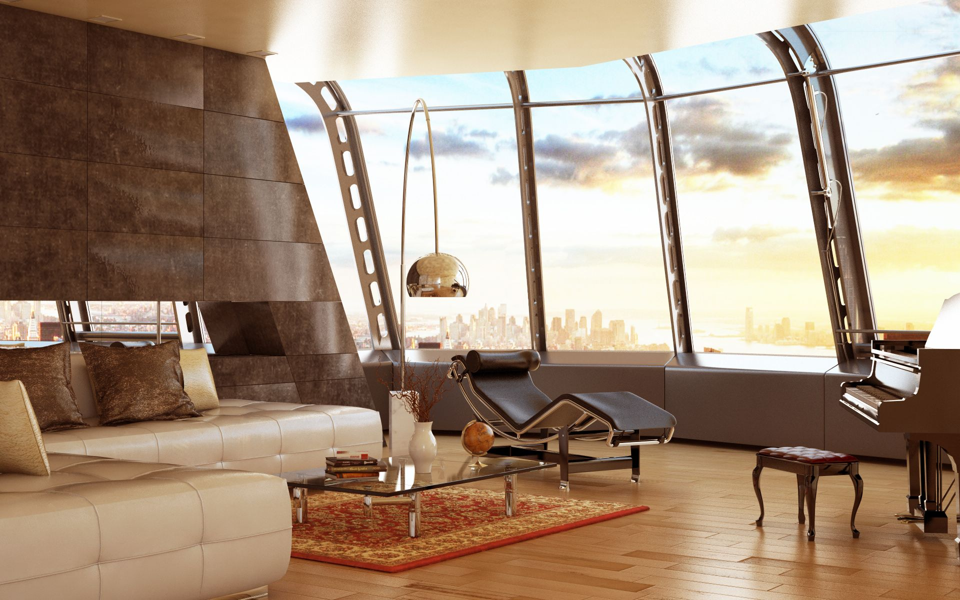 Loft on a skyscraper. sunset interior rendering made by cinema 4d