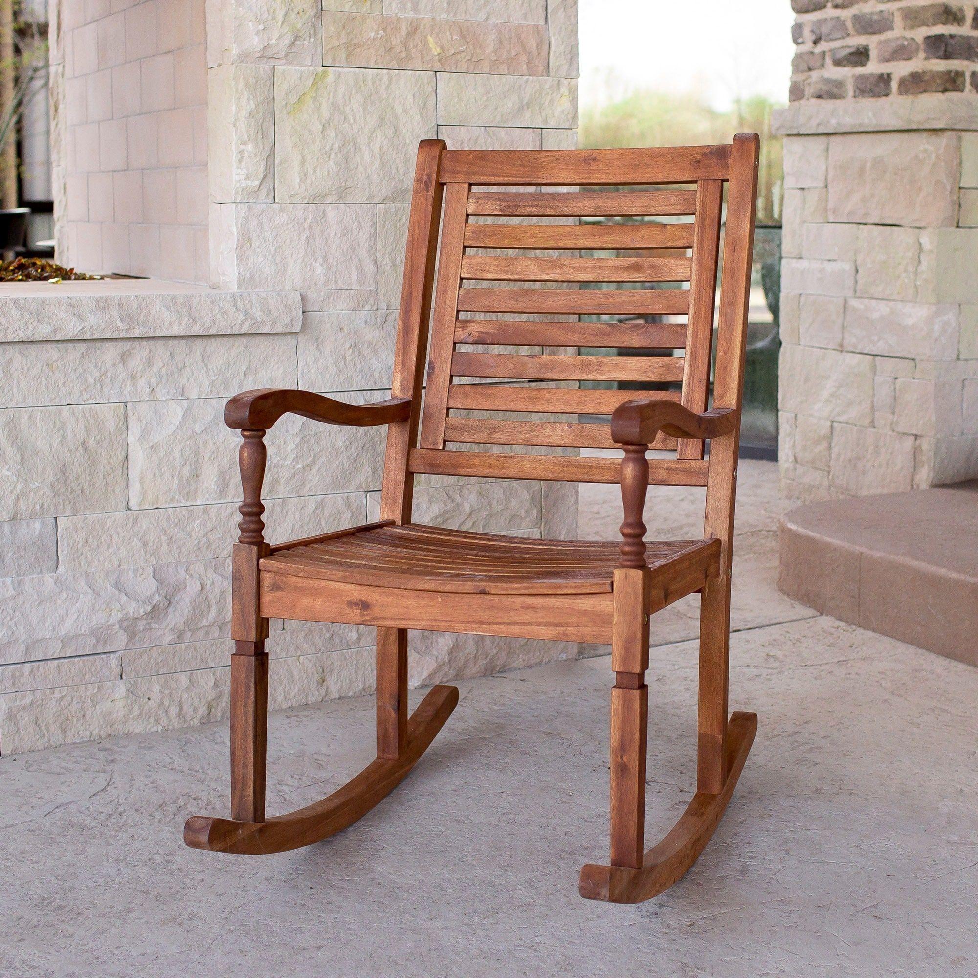 The Gray Barn Bluebird Solid Acacia Wood Rocking Patio Chair Brown