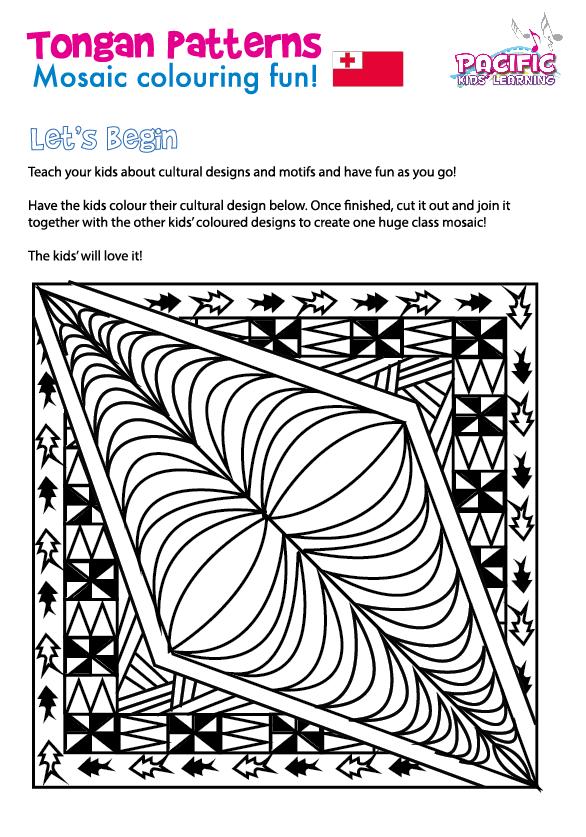 Free Download Tongan Patterns For Kids Mosaic Colouring Fun Maori Patterns Tongan Pattern