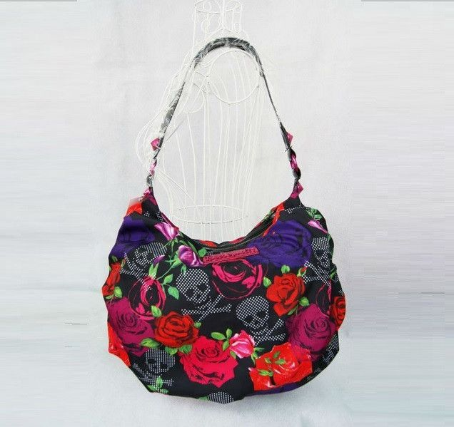 Sugar Skull Bag - Tote Purse - Roses - Purple- Red - Grey