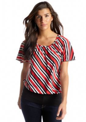 3015b6f60ac New Directions Stripe Banded Bottom Top