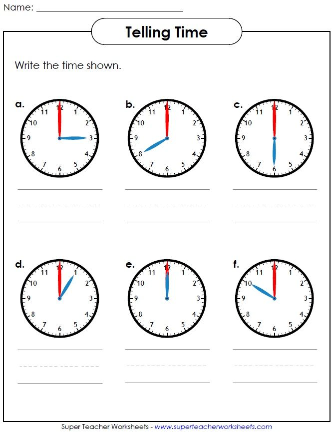 Help your students learn how to tell time Visit Super Teacher – How to Tell Time Worksheets