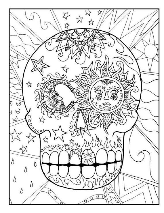 Sugar candy skull coloring pages for kids or adults, downloadable - copy dia de los muertos mask coloring pages