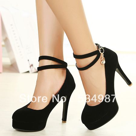 Fashion Round Closed Toe Stiletto High Heels Black Suede Ankle ...