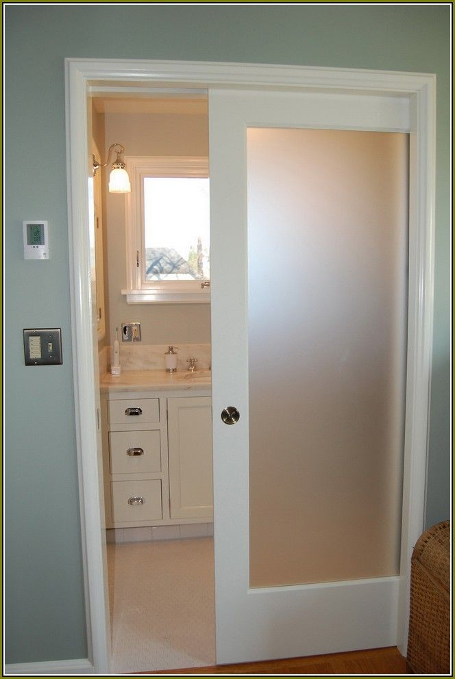 Interior Pocket Door with translucent glass insert