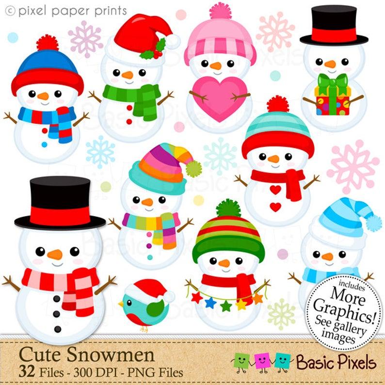Cute Snowmen Snowman Clip Art Clipart For Personal And Etsy Decoraciones De Navidad Hechas A Mano Dibujo De Navidad Dibujos Navidenos