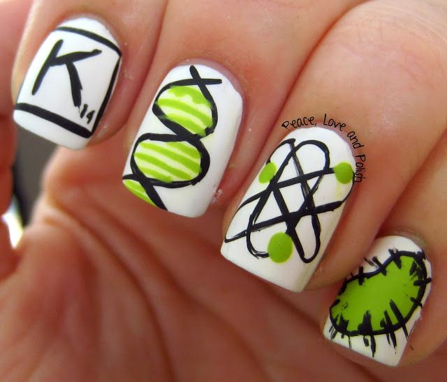 Science Nail Designs: Peace, Love And Polish: Digit-al Dozen Does Geeks: Science