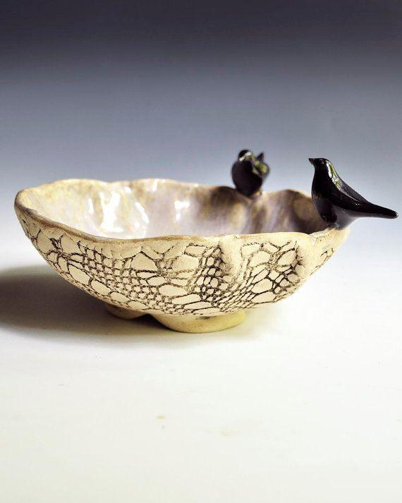 ceramic bowl art sculptural vessel  textured lace Raven Consultation Halloween decor