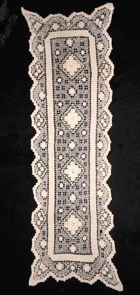 Vintage Crocheted Table Rectangle Runner Dresser Scarf Ecru 36