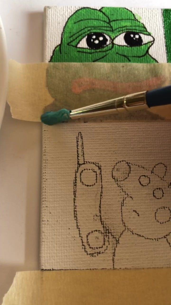 Meme Painting Tik Tok Peppa Spongebob Painting Mini Canvas Art Cute Canvas Paintings