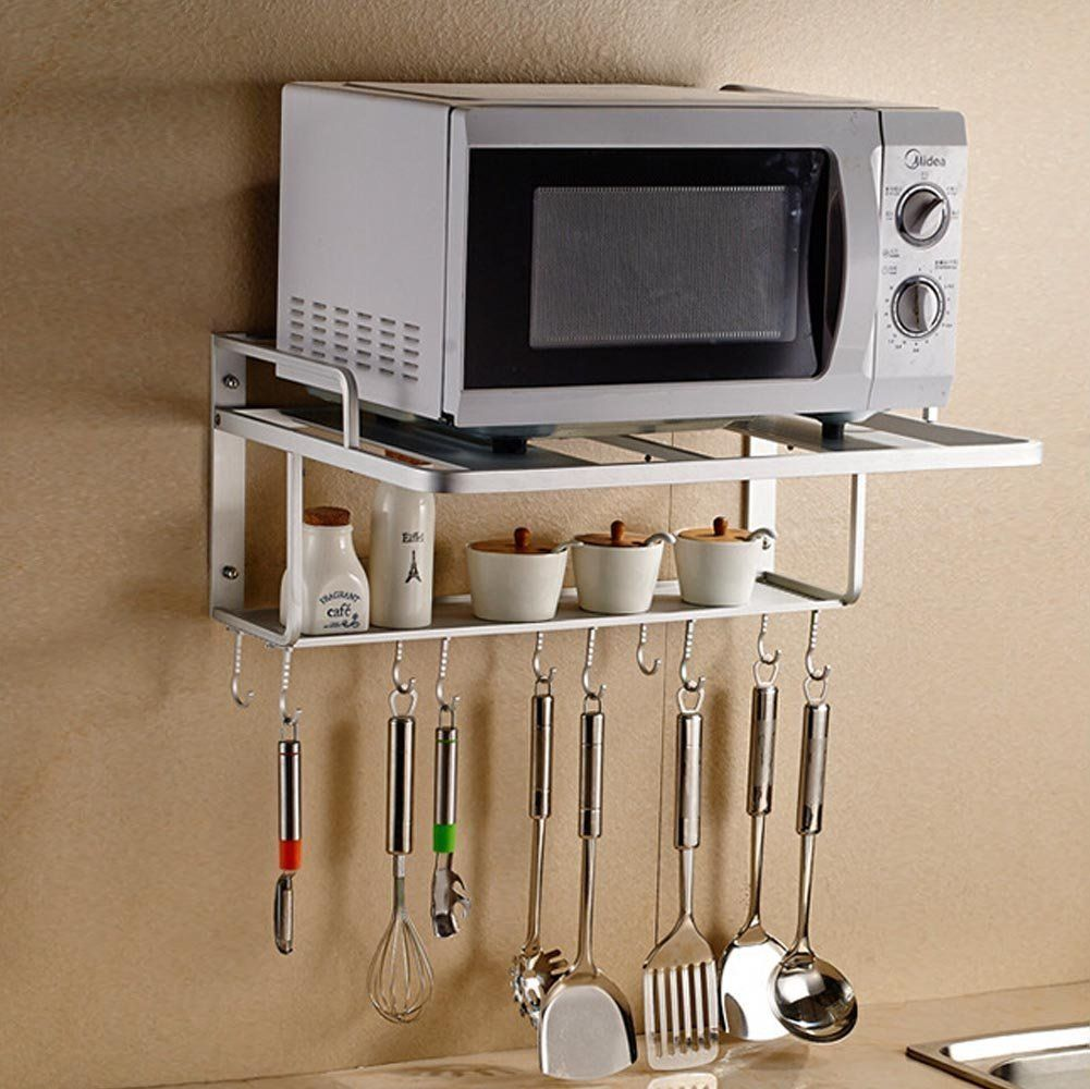 Aishine Double Bracket Alumimum Microwave Oven Wall Mount Shelf With Removable Hook