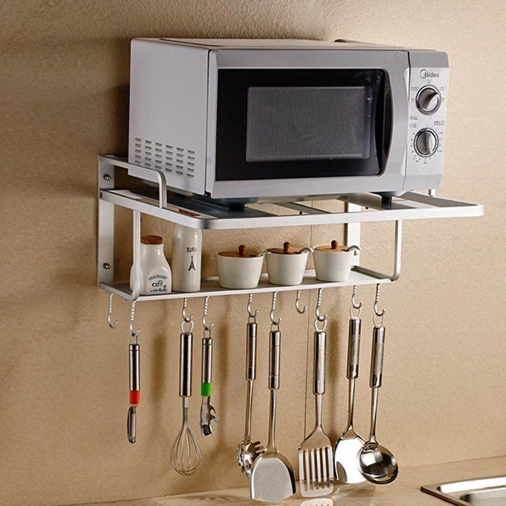 Aishine Double Bracket Alumimum Microwave Oven Wall Mount Shelf