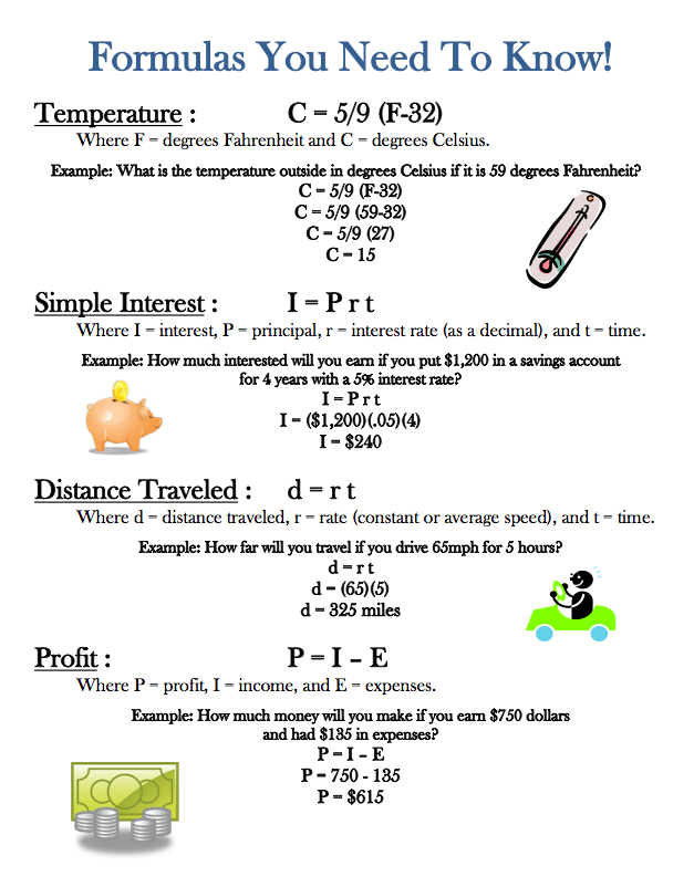 "FREE MATH LESSON - ""Formulas Handout"" - Go to The Best of Teacher ..."