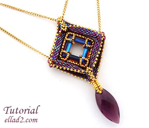 Out of the Box Pendant is my little contribution to the geometric beadwork...very popular lately. You can make the pendant bigger adding few rows more...