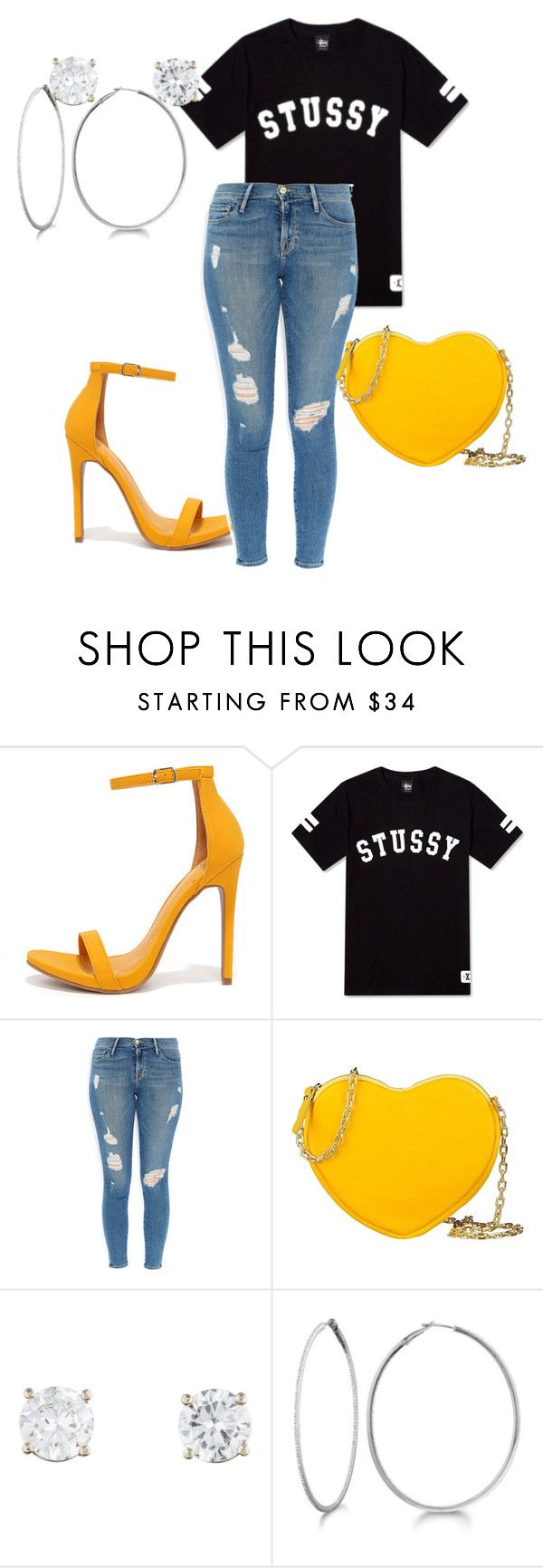 """Out on the Town"" by cooleyindia ❤ liked on Polyvore featuring Shoe Republic LA, Stussy, Frame Denim, George J. Love and Allurez"
