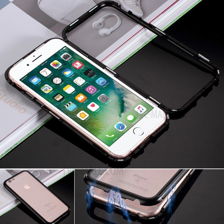 Detachable Magnetic Metal Frame Tempered Glass Back Hard Casing For Iphone 6s 6 4 7 Inch Transparent Black Apple Iphone Ipad Ipad Iphone Apple Zubehor