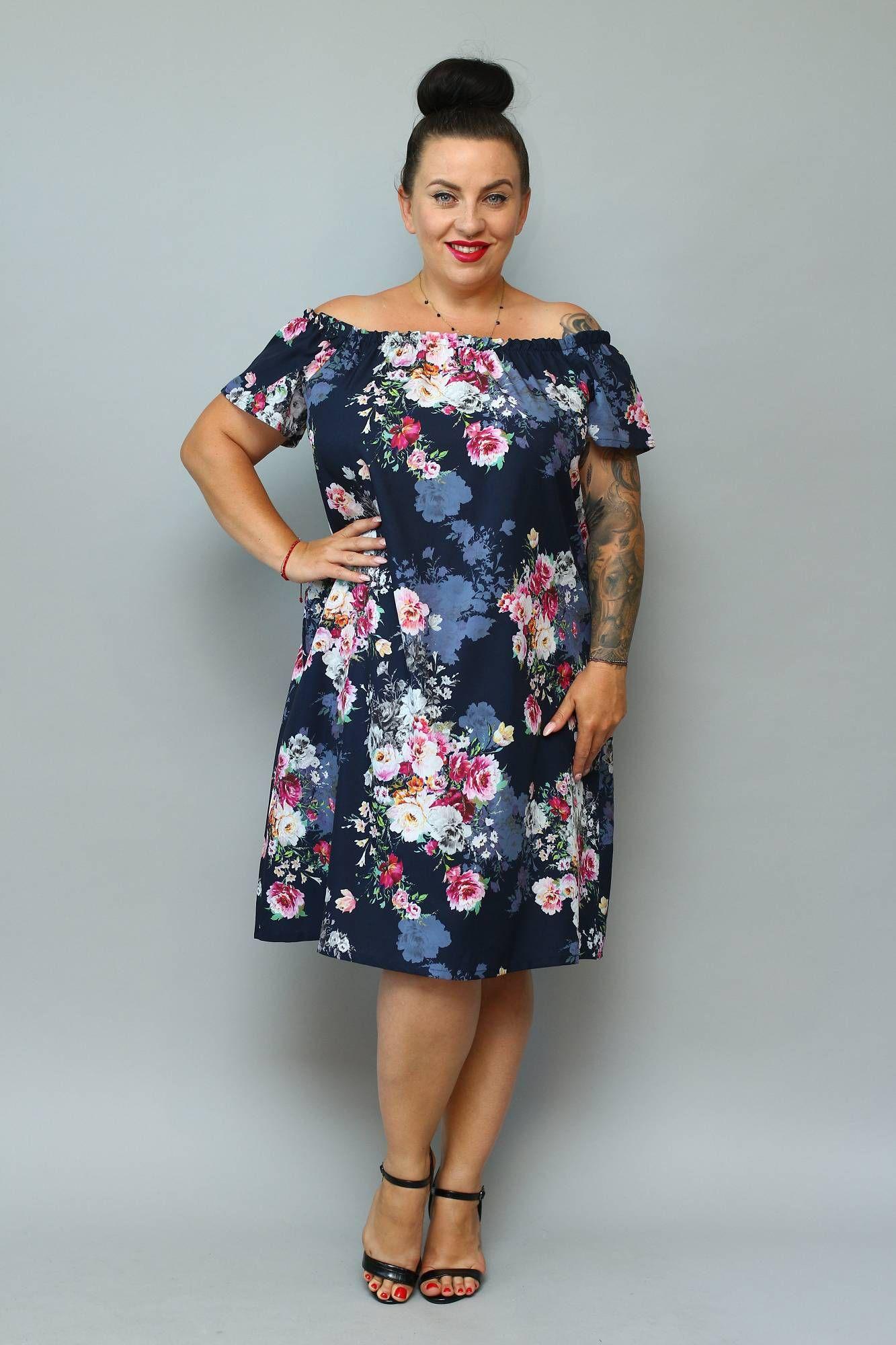 Sukienka Marita Letnia Hiszpanka Granatowa W Bukiety Kwiatow Promocja Casual Dress Cold Shoulder Dress Fashion