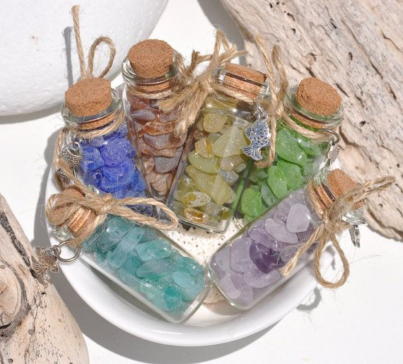 Your Choice Of A 2 Inch Bottle With Genuine Sea Glass, Yellow, Aqua, Lilac, Blue, Lime Green, Caramel, Authentic Seaglass, Rainbow