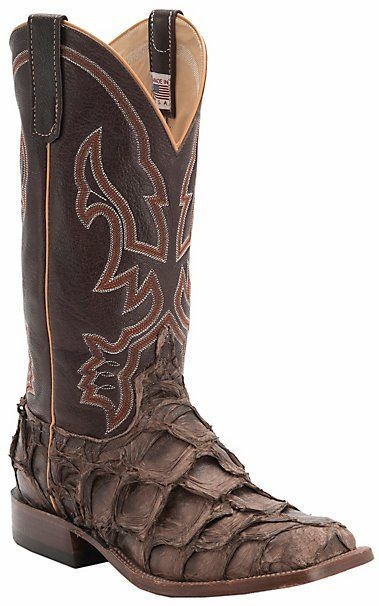Anderson Bean Men's Distressed Brown Big Bass Double Welt Square Toe Western Boots