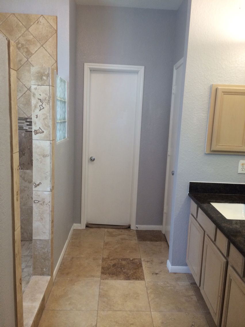 Bathroom Remodel Travertine Tan Brown Granite Grey Paint Grey