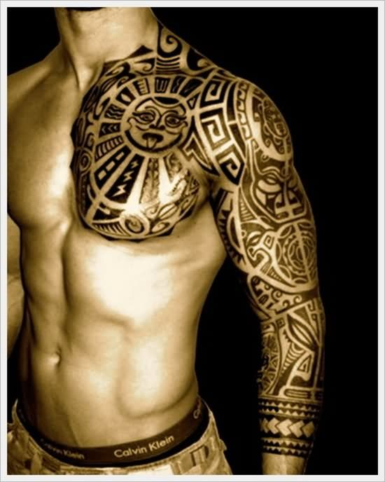 Aztec Man Chest And Left Sleeve Tribal Tattoo Tribal Tattoo Designs Chest Tattoo Men Polynesian Tattoo Maori Tattoo