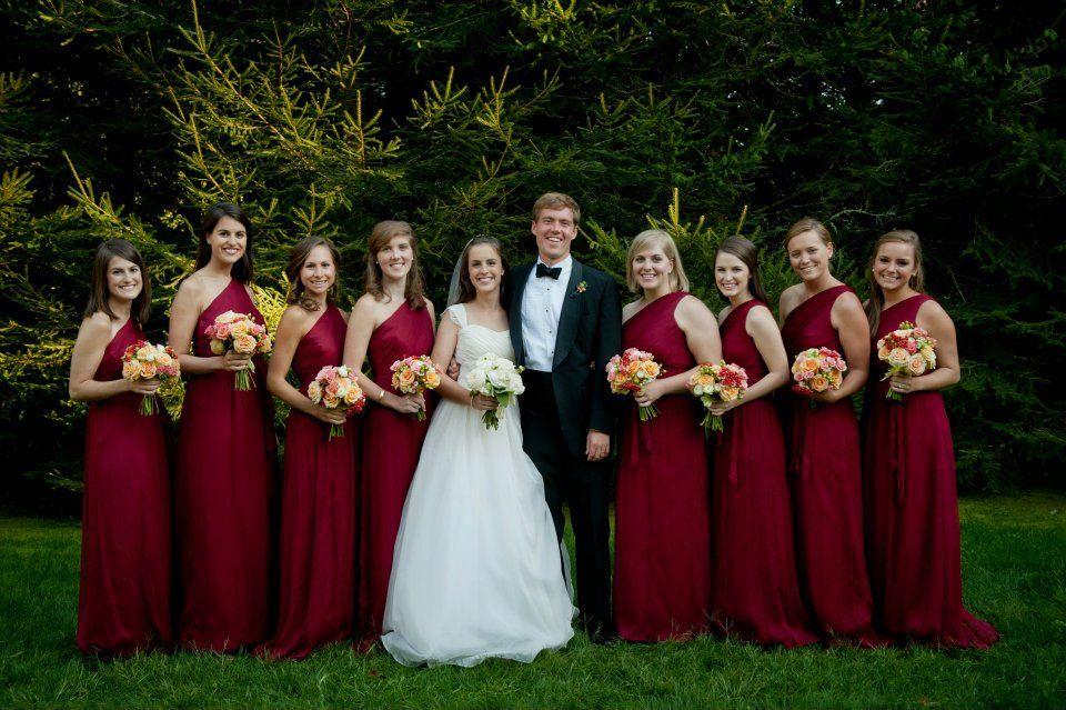 Crimson Bridesmaid Dresses For A Fall Or Winter Wedding