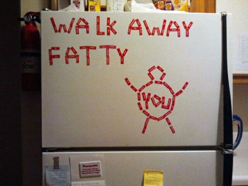 "I have a ""skinny picture"" of myself hanging on the side of my fridge but I guess this method would work, too!"