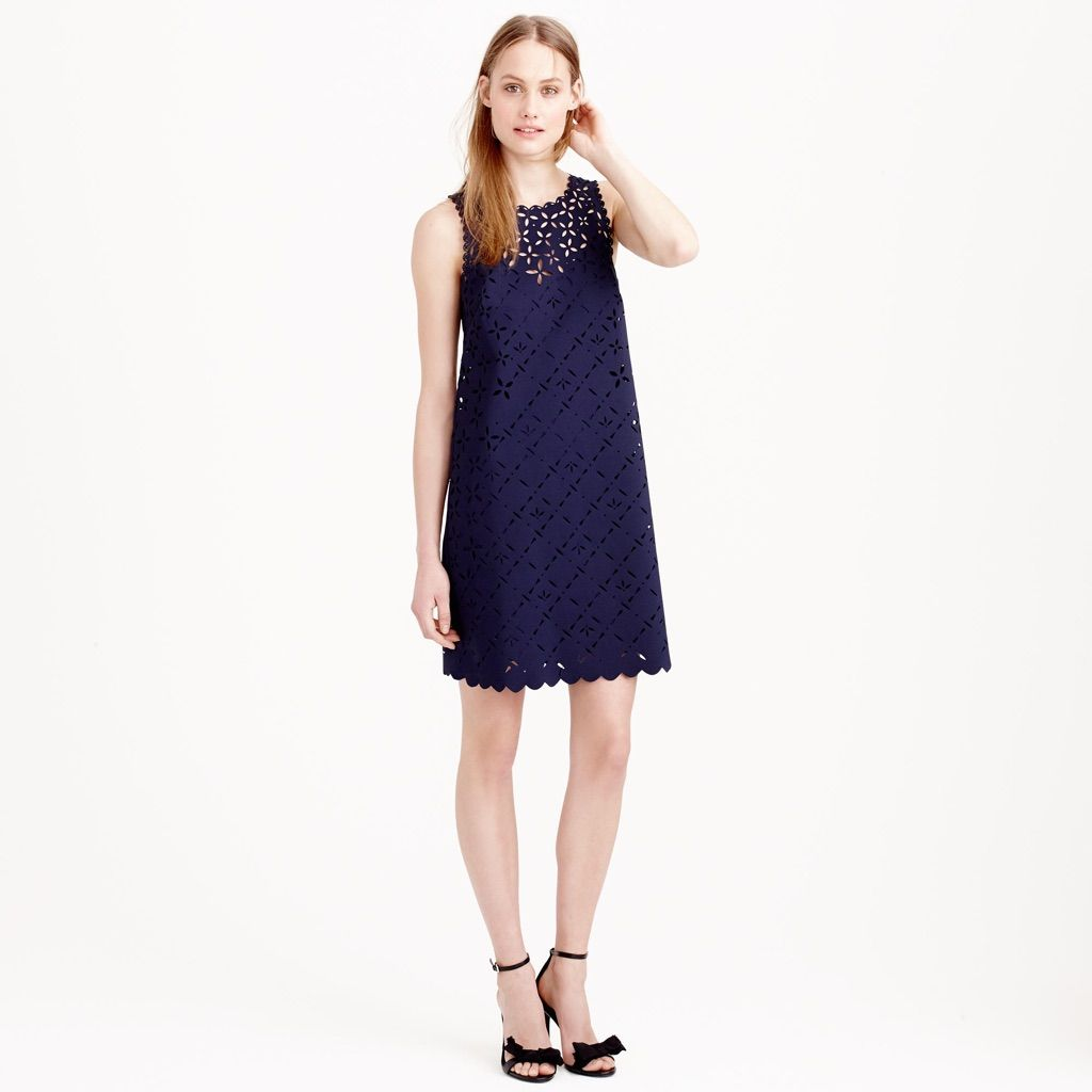 b70dbbe0b70 Jcrew Navy Laser Cut Floral Eyelet Dress Size 0