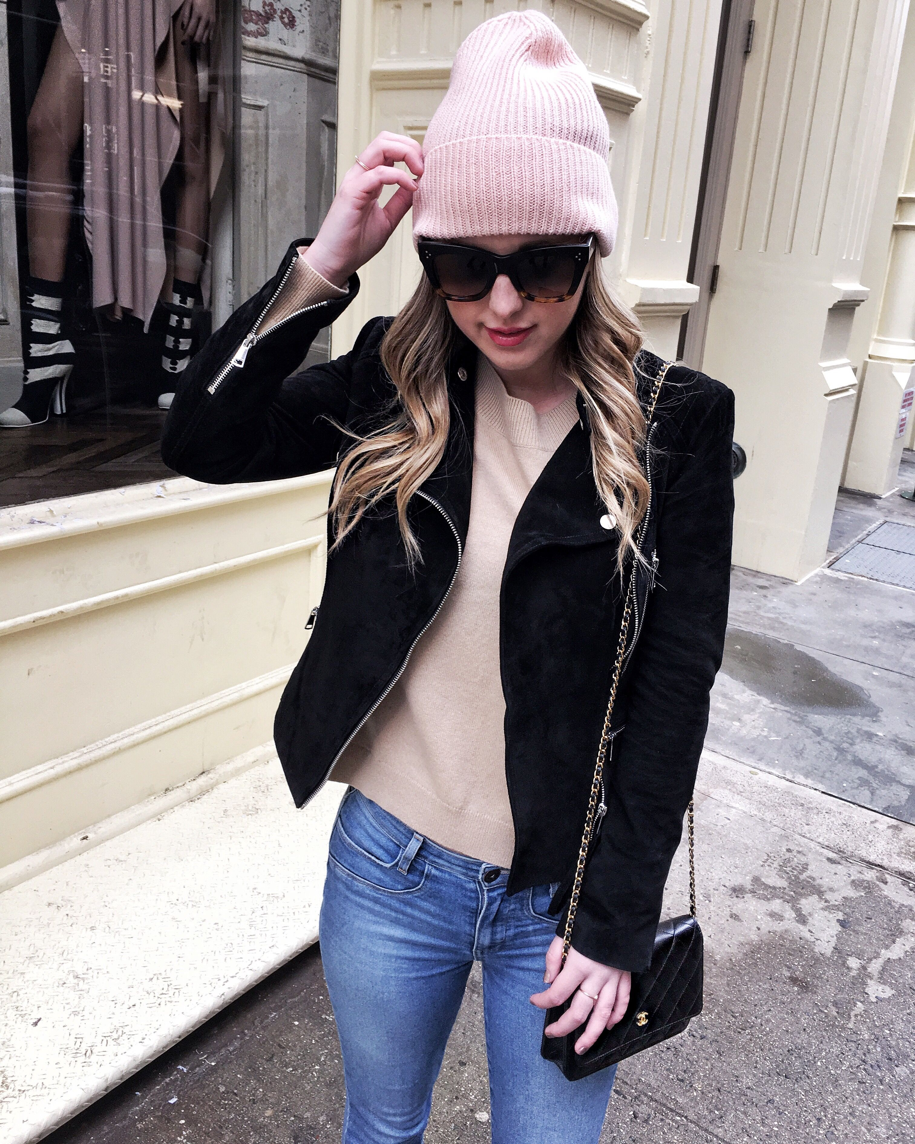 9eba5bfbf61 ... united states cb4bd 3ded9 Miami Blogger Outfit Inspiration NYFW  Instagram Recap Winter Fashion Pink Beanie  recognized brands 1cc9c 12dce  Chanel ...
