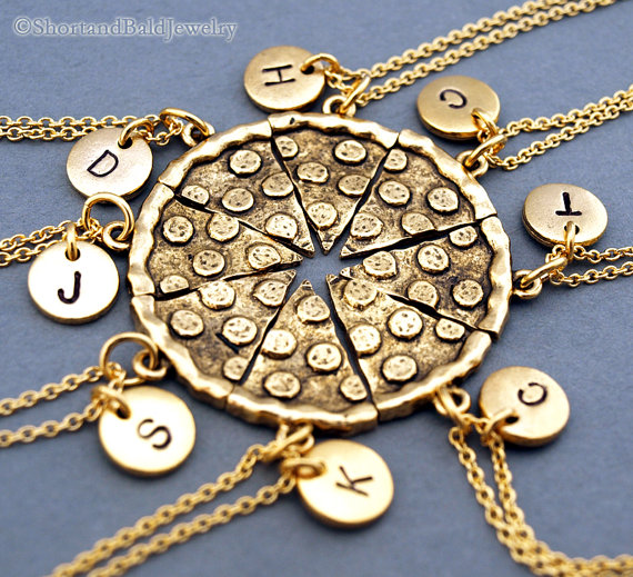 Pizza Necklace Pizza Slice Necklaces Set Of 6 7 8 Etsy Bff Jewelry Friend Jewelry Friend Necklaces
