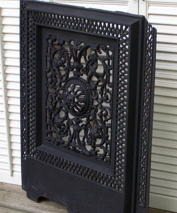 Ornate Vintage Cast Iron Fireplace Grate Cover By Oldtimepickers