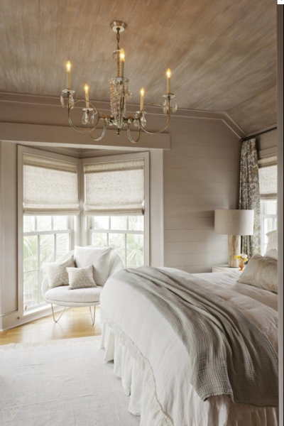 Bedroom with Faux Painted Driftwood Treatt on Ceiling and ...