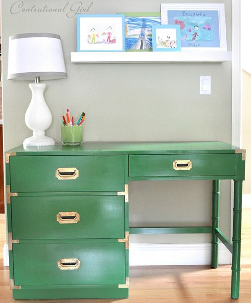 Love the pop of color and shade of green on this. Close paint colors would be 'Grasshopper' by Sherwin Williams or 'Bunker Hill Green' by Benjamin Moore.