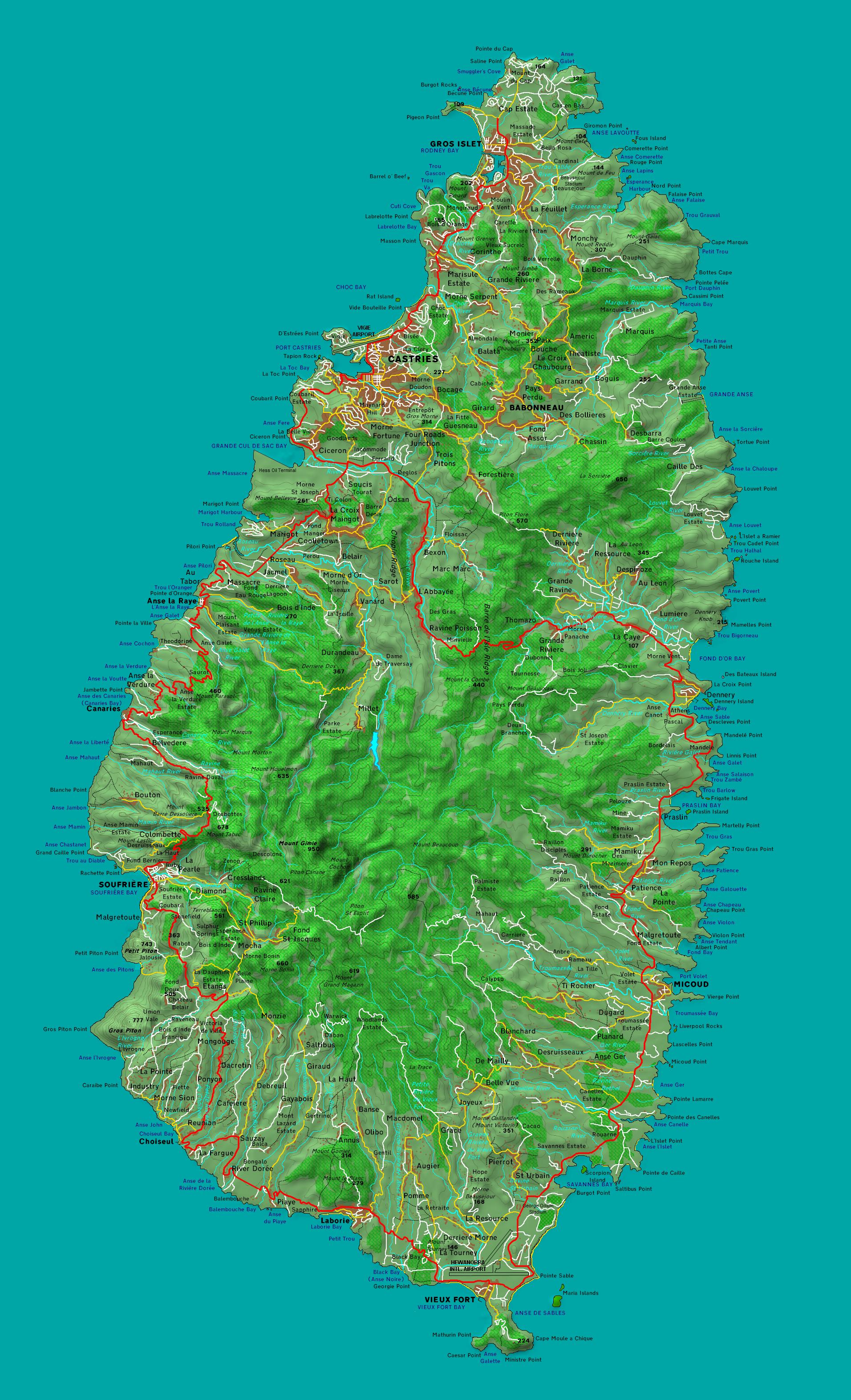 Detailed map of Saint Lucia | Santa lucia island ...