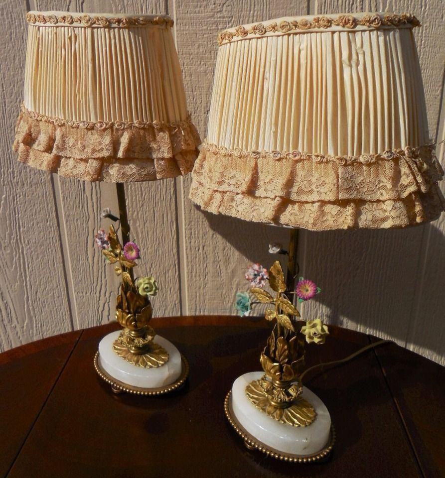 Beautiful Antique Pair Of French Porcelain Flowers Brass Boudoir