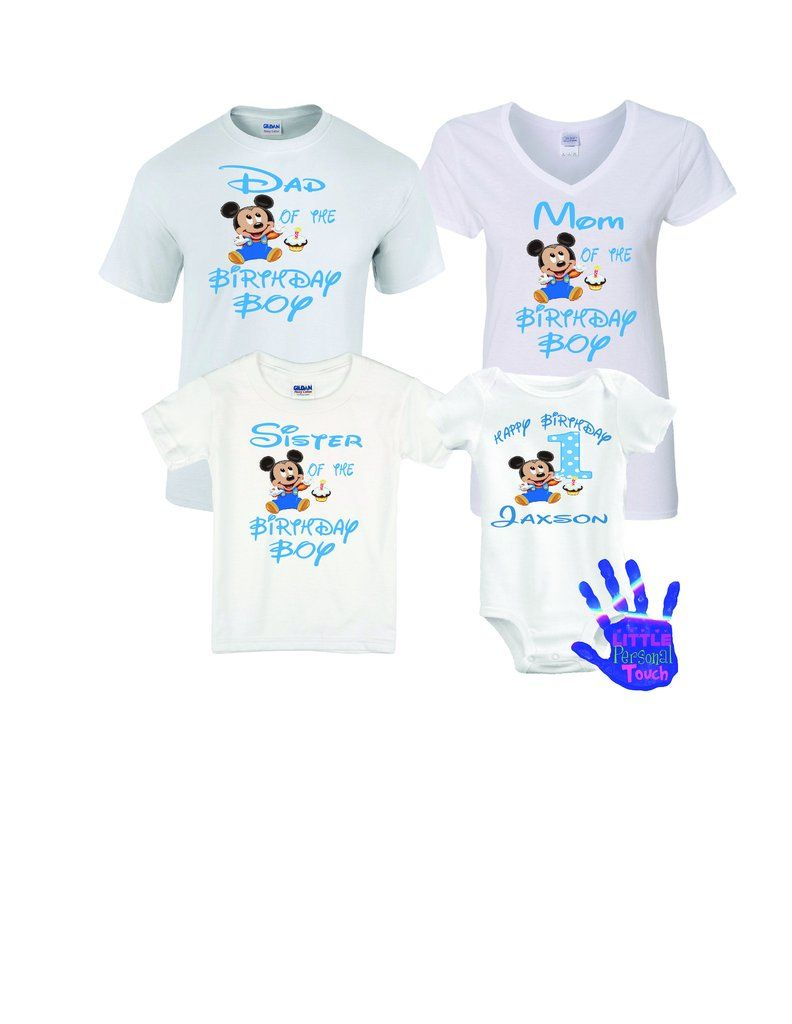 Mickey Mouse 1st Birthday Family Shirts 12 Month Onesie In 2020